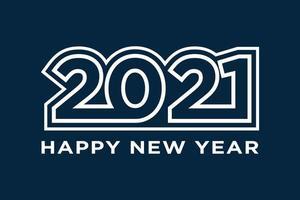 Frohes neues Jahr 2021 Textdesign. Feiertagsvektorillustration. isoliert auf Marinehintergrund. vektor
