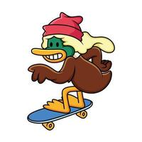 Enten-Cartoon-Skateboarding. Vektor-ClipArt-Illustration mit einfachen Verläufen mit lustiger Pose. vektor
