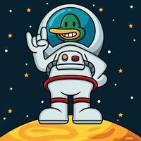 astronaut anka vektor ikon illustration. maskot seriefigur. djur ikon koncept vit isolerad.