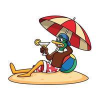 niedliche Ente entspannt sich am Strand und hält Saftkarikaturvektorikonenillustration. Tierferienikonenkonzept isolierter Premiumvektor. vektor