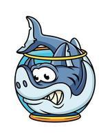 niedliche Vektorillustration des Hais im Aquarium. Tierikonenkonzept weiß isoliert. vektor