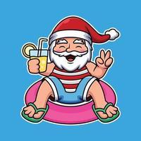 Santa, die mit Rohr schwimmt und Saftkarikaturvektorikonenillustration hält. Menschen Urlaub Ikonenkonzept isoliert Premium Vektor. vektor