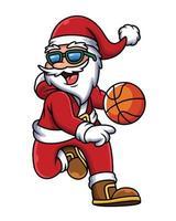 Illustration des Weihnachtsmanns, der Basketball spielt. Volkssportikonenkonzept im weißen Hintergrund. vektor