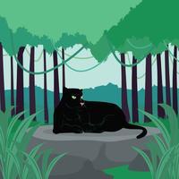 Schwarzer Panther, der auf riesiger Felsen-Illustration liegt