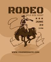 Western-Rodeo-Flyer-Design-Vorlage vektor