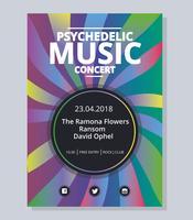 Psychedelic konsertaffischmall vektor