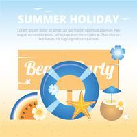 Vector Beach Party hälsningskort