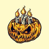 halloween pumpa med levande ljus vektor