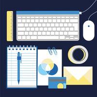 vektor kontor skrivbordselement