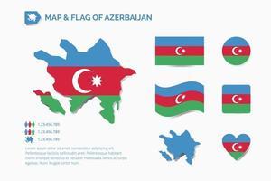 Karte und Flagge von Aserbaidschan vektor