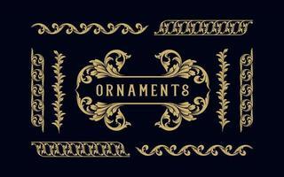 samling av guldetikett och ram ornament