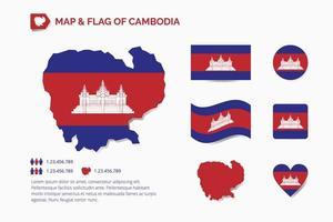 Karte und Flagge von Kambodscha vektor
