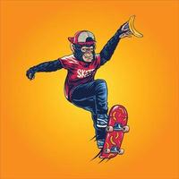 Affe spielt auf Skateboard isoliert vektor