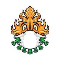 Covid Fire mit Maskenmaskottchen vektor