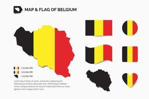 karta och Belgiens flagga vektor