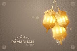 Ramadhan Kareem realistischer Hintergrund mit Lampe vektor