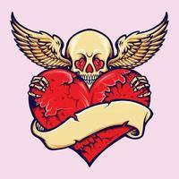 Schädel, der gebrochenes Herz mit Fahne hält vektor