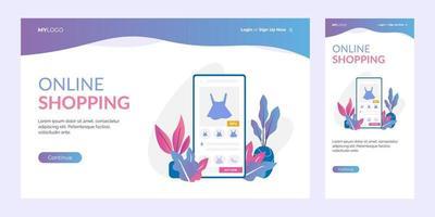 Online-Shopping-Landingpage-Vorlage vektor