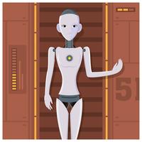 ai humanoid kvinnlig robot vektor