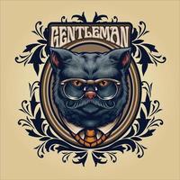 grå katt gentleman med glasögon och ram ornament vektor