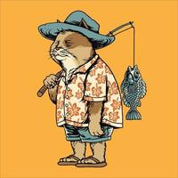 fisher katt på fiskesemester vektorillustration