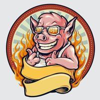 Vintage Schweinemaskottchen Emblem mit Band und Feuer vektor
