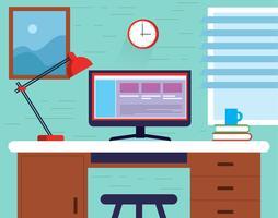 Vektor skrivbordsillustration med element och tillbehör