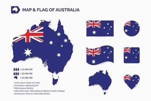 karta och flagga för Australien vektor