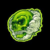 grüner Schädel in Rauchwolkenillustration
