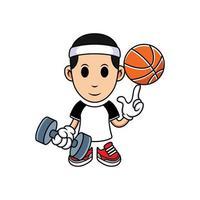 einfacher Cartoonjunge, der Basketball mit Langhantel spielt. Vektorkarikaturillustration im weißen Hintergrund vektor