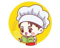 niedlicher Bäckerei-Kochjunge, der im Restaurant mit Rezeptbuch und Schöpfkarrenzeichentrickfilm-Karikaturkunstillustration arbeitet. Premium-Vektor vektor