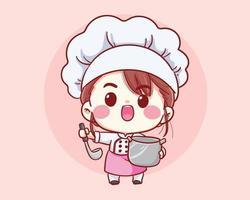 niedliches Bäckereikochmädchen, das lächelnde Cartoonkunstillustration kocht vektor