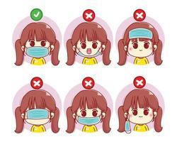 hur man bär en ansiktsmask söt flicka tecknad karaktär illustration vektor