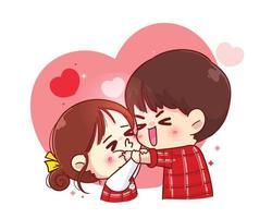 süßes Mädchen küsst Jungen auf Wange glückliche Valentinstagkarikaturcharakterillustration vektor