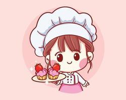 niedliches Bäckereikochmädchen, das die lächelnde Karikaturkunstillustration des Erdbeerkuchens hält vektor