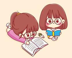 süßes Mädchen liest Buchkarikaturcharakterillustration