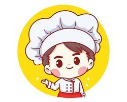 niedliche Bäckerei Chef Junge begrüßen lächelnde Cartoon Kunst Illustration vektor