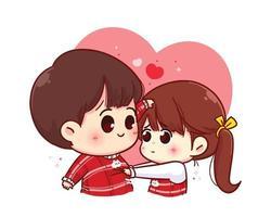 älskare par glad valentine tecknad karaktär illustration vektor