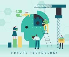 zukünftige Technologiekonzept-Web-Banner-Vorlage. vektor