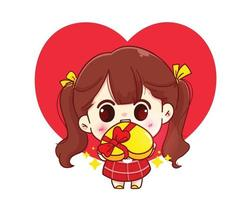 söt tjej ger gåva glad valentine tecknad karaktär illustration vektor