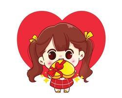 süßes Mädchen, das glückliche Valentinstagkarikaturcharakterillustration verschenkt vektor