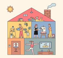 människor inne i bostadsbyggnaden. vektor