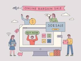 online försäljning marknadsföring händelse. vektor