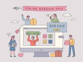 Online-Verkaufsförderung. vektor