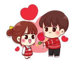 Junge gibt Blume zum niedlichen Paar der glücklichen Valentinstag-Zeichentrickfigur des Mädchens vektor