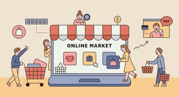 online butik koncept. vektor