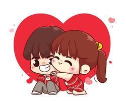 Liebespaar umarmt glückliche Valentinstag-Zeichentrickfigur-Illustration vektor