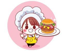 söt kock håller stor hamburgare leende tecknad illustration vektor