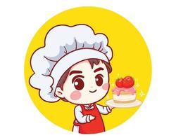 niedlicher Bäckereikochjunge, der eine kuchenlächelnde Karikaturkunstillustration hält vektor