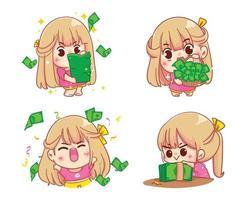 Mädchen, das Geld Cartoon Set Illustration hält vektor
